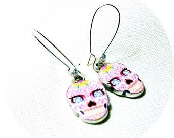 Pink Skull Earrings, Sugar Skull Dangles, Day of the Dead, Skulls Pink, Pink Sugar Skulls, Biker Chick Earrings, Pink Dangles, Skull Dangles