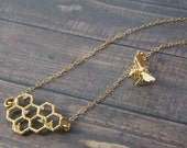 honey bee and bee comb gold necklace, honeycomb, honey hive, gift, bee lover, sweet, be mine, valentine's day, birthday gift