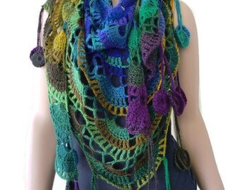 Lara beach-Blues, purples, greens ,mustard and plum -Boho scarf , Crochet lace scarf with fringes-Handmade boho scarf-OnlyONE