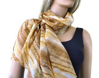 Desert stars Long chiffon scarf -Parisian Neck Tissu-Shades of mustard/ochre with gold