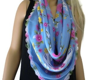 Anatolian Cotton/silk blend Gauze Scarf..Neck scarf...Head scarf/ lake blue with pink and yellow flowers