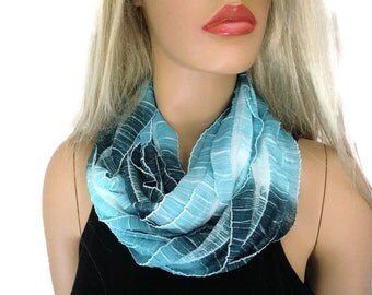Ocean colors  Blue ruffle infinity scarf. Shimmery blues, Flamenco, Necklace Scarf, Le dernier cri...