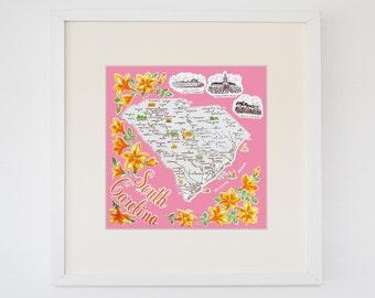 Vintage South Carolina Souvenir Map Print