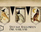 Vintage Halloween Owl Garland Printable Digital Download