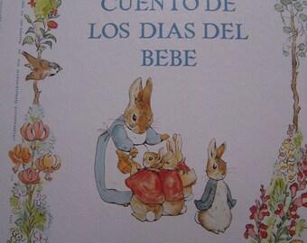 Vintage El Cuento De Los Dias Del Bebe Beatrix Potter Spanish Baby Record Book