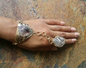 Bronze galaxy & amethyst goddess bracelet