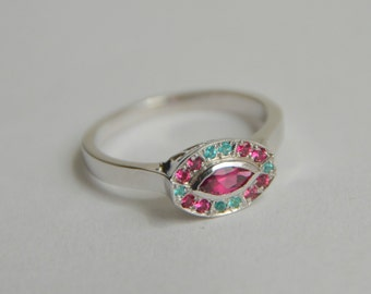 White Gold Marquis Ring, oval gemstone ring, pink and blue gemstone ring, fan style ring, spinel and tourmaline ring, gifts for moms