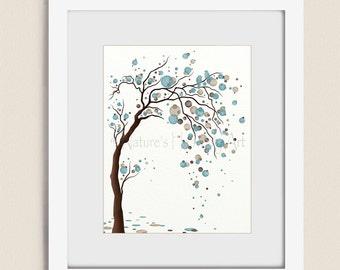 Blue and Brown Wall Art Tree Print  11 x 14 Home D cor Living room art Etsy
