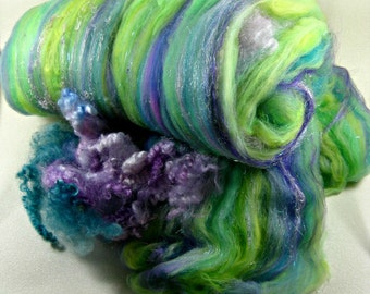 Budgies Wild Card Bling Batt for spinning and felting (4.4 ounces), batt, art batt