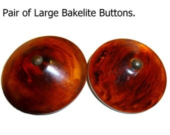 Two Large Vintage Bakelite Buttons. 1940s. High Domed Tested Rootbeer Swirl Translucent  Bakelite.