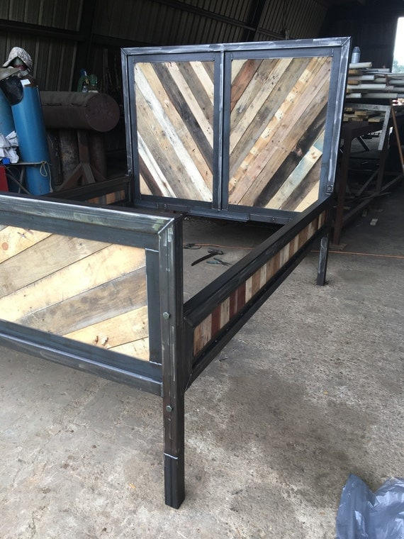 Items Similar To Reclaimed Wood Industrial Bed On Etsy