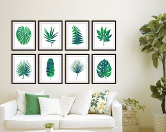 Island Impressions Palm Art (Series 8A) Set of 4 - Art Prints (Tropical Palm Botanical Art Decor)
