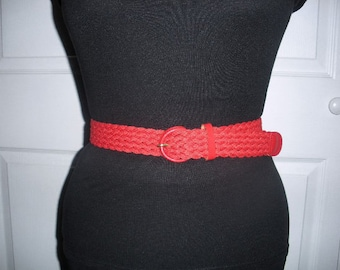 Vintage Accessory by Pearl Red Woven Belt XS S M