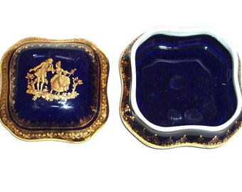 """LIMOGES PORCELAIN VINTAGE trinket box,France,cobalt and 24k gold,4""""x 4"""" and 2 1/2"""" high,romantic jewelry box"""