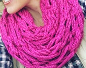 WINTER SPECIAL Cozy Knit Infinity Scarf, Arm knit, berry, pink, Neck scarf, infinity scarf, knit scarf, circle scarf, fall, winter