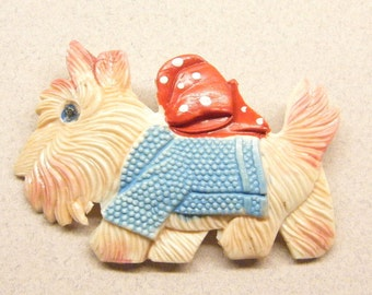 Vintage brooch, vintage pin, Scotty Dog pin, celluloid pin,  brooch pin, figural pin, Animal CHARITY DONATION