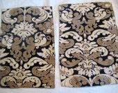 Vintage placemates retro placemats, set of 2, black tan white swirl design linen unused condition