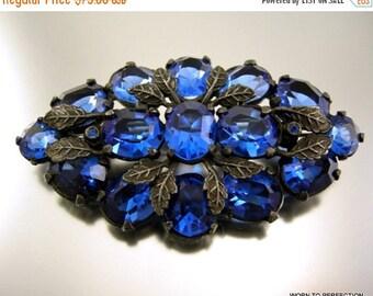 ON SALE Art Deco Czech Blue Glass Brooch with Silvery Leaves