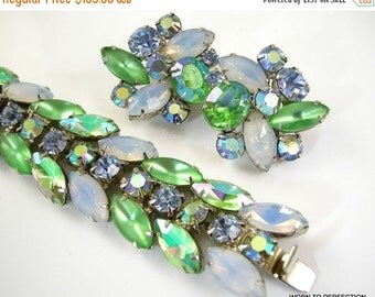30% Off Sale Kramer of New York Bracelet and Earrings Aurora Borealis Pale Green and Opalescent Navettes