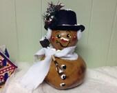 Hand Painted Gourd Snowman Christmas Winter Decor