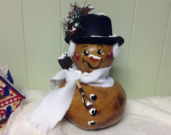Hand Painted Gourd Snowman Christmas Winter Decor