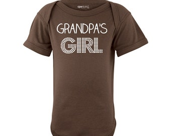 Apericots Grandpa's Girl Adorable Short Sleeve Baby Bodysuit