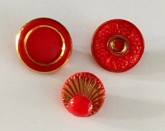 3 Vintage Czech Glass Buttons - Gold Metallic on Red Glass