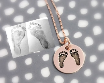Rose Gold Actual Footprints Necklace - New Mom Necklace - Pink Gold - Remembrance Memorial Necklace - Silver, Rose Gold, Yellow Gold