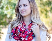 Infinity Scarf, Scarf, Scarves, Womens Scarves, Shawl, Cowl, Scarves For Women, Baby Scarf, Rifle Paper Co - Birch Floral In Red