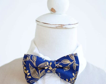 Bow Tie, Bow Ties, Boys Bow Ties, Baby Bow Ties, Bowties, Ring Bearer, Bow Ties, Rifle Paper Co - PRE-ORDER Queen Anne In Navy And Gold