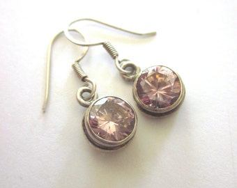 Sterling Silver Pink Tourmaline Dangle Earrings