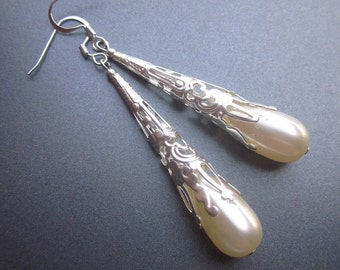 Pearl Dangle Earrings Bridal Jewelry Art Nouveau Style Bridesmaids Long Earrings