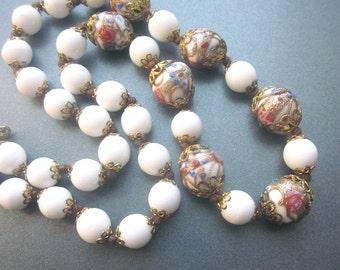 Wedding Cake Vintage Beaded Necklace Murano Glass White Jewelry Italy