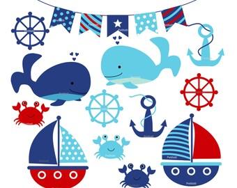 ON SALE Nautical clip art - baby boy sailing clip art, whales clip art, Anchor Clip Art,  INSTANT Download