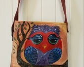 CLEARANCE PRICED - Handpainted on Leather - Miss Owl - handmade leather handbag