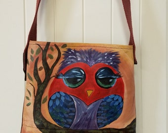 CLEARANCE PRICED - Handpainted on Leather - Miss Owl - handmade leather handbag
