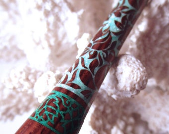 """The """"Princess Eve"""" Full Body Floral Hair Stick Featuring Cocobolo inlaid with Mint Green Fresh Water Pearls and Malachite"""
