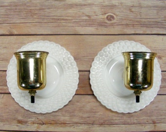 Hobnail Glass Wall Lamps Pair of Vintage Lights