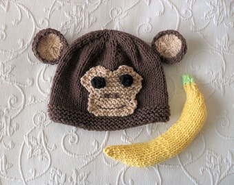 Knitted Banana Photo Prop Monkey Hat Photo Prop Knitting Knit Baby Hat Knitted Baby Hats Knitted Animal Hat Monkey Baby Hat