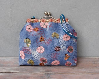 Under the Sea Bag, Appliqued Sea urchins, seaweed, Blue bag, Leather, Vintage Fabric, Kiss-lock, Colorful Bag