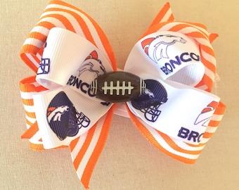 Broncos Hair Bow Footbal Clip