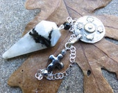 Rainbow Moonstone Pendulum,  Sterling chain,  Afghan Repousse Pendant