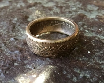 Coin Ring - 1878 Greek King George Copper Coin Ring - Size: 11