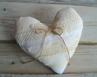 SALE -- Ringbearer pillow in layers of vintage lace . back side burlap . white and ivory laces . heart ringbearer pillow