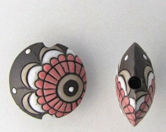 Pink Paisley Lentil Bead, Round Lentil Pendant Bead, Focal Bead, Pendant Bead, Golem Design Studio