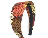 Wide Fall Headband - 2 inch Neutral Flower Print headband in deep plum, tan, rust and brown - Girl Headband, Teen Headband, Adult Headband