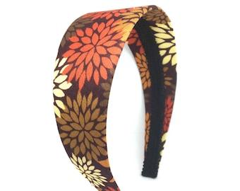 Fall Headband - Neutral Flower Print headband in deepest plum, tan, rust and brown - Choose Width - Girl Headband, Adult Headband