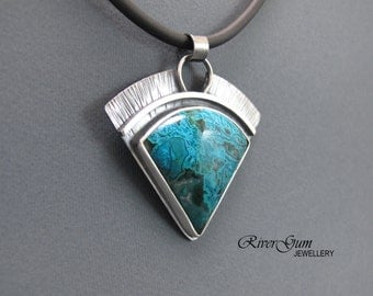Chrysocolla Pendant, Aztec Silver Pendant, Sterling Silver Statement Piece, Gemstone Jewelry, Metalsmith Jewelry by Rivergum Jewellery
