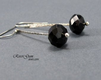 Black Onyx Silver Earrings, Long Argentium Silver Forged Stem Earrings, Contemporary, Handmade by RiverGum Jewellery