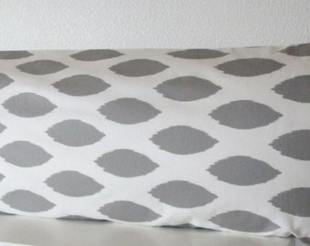Body pillow cover - Grey - White - Ikat - navette print - Decorative - 20x54 - Body pillow case